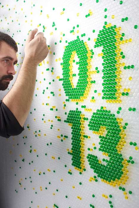 Juicy Bubble Wrap Typography - This Bubble Wrap Typography Was Created by Injecting Colored Liquids