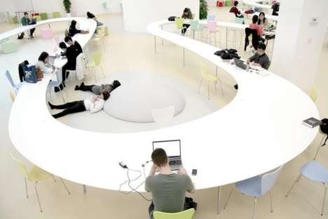 Stretched Snaking Desks - The 150m Long Study Table by MAKS Encourages Student Interaction