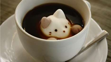 Feline Marshmallow Toppings - These Cute Marshmallow Cat Designs are Perfect for Hot Drinks