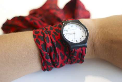 DIY Stylish Scarf Watches - These Scarf Watches Upcycle Old Timepieces into a Neat DIY Accessory