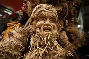These Hairy Male Figures Were Sculpted from Bamboo Roots
