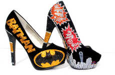 Vigilante-Inspired Heels - Embrace Ferocity With These Bedazzled Batman Pumps