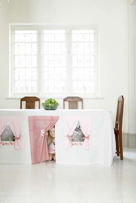 Child-Geared Dining Decor - The Tablecloth Play House Turns a Necessity into a Toy
