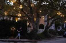 Illuminated Arboreal Installations - Adam Tenenbaum's Yard Gets Glam with a Chandelier Tree