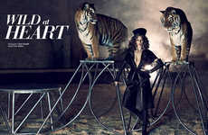 Exotic Circus Editorials - The Dress to Kill 'Wild at Heart' Photoshoot Stars Kim Cloutier