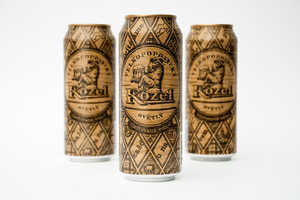 These Velkopopovicky Kozel Beer Cans Appear to be Made of Carved Wood