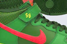 Watermelon-Inspired Sneakers - The Nike SB Dunk Mid Sneakers Gracefully Imitate Watermelons