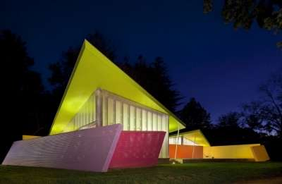 Neon Housing Pavilions - The Shelter Island House by Stamberg Aferiat and Associates is Vividly Bold