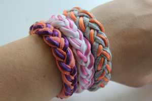 These Braided Bracelets are Made Using Cut Up Vintage T-Shirts