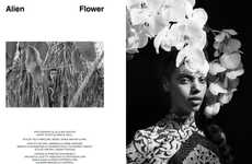 Exotic Foliage Editorials - The Lurve Magazine 'Alien Flower' Editorial Stars Grace Mahary