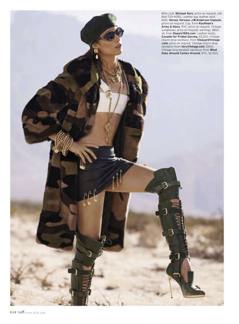 Alluring Artillery Editorials - Elle US and Jessica Miller Give a Bootcamp in Glam Army Fashion