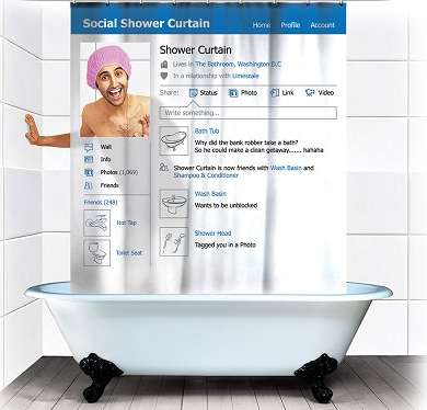 Social Media Shower Curtains - Your Facebook Network Can Now Join You During Your Morning Routine