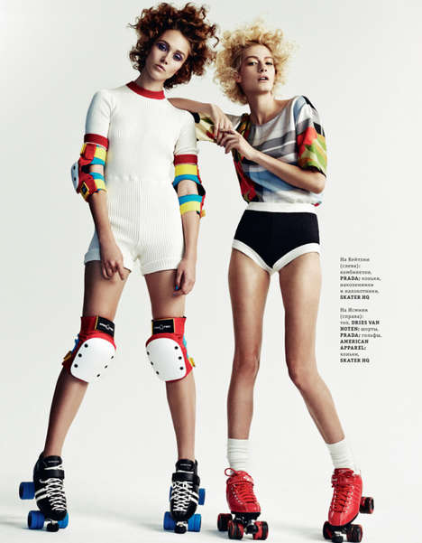 Roller Derby-Inspired Editorials - The ELLE Ukraine 'Rolling Girls' Photoshoot is Fun and Colorful