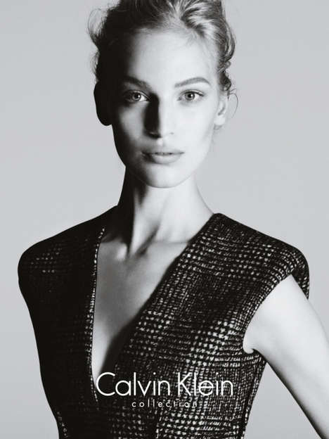 Sleek Grayscale Fashion Ads - The Calvin Klein Fall Ad Campaign Stars Model Vanessa Axente