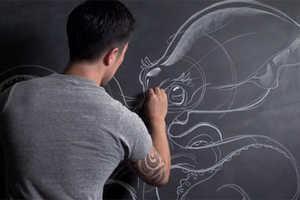 Peter Han Uses Chalkboard Drawings to Create Unrestrictive Art