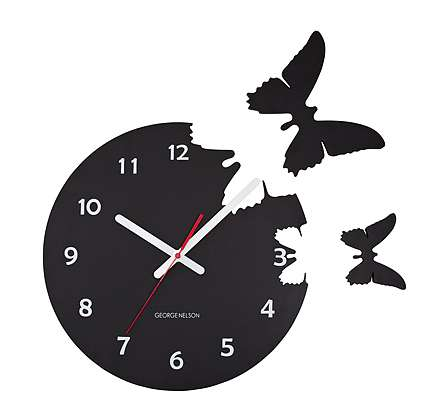 Fly Away Timepieces - These Modern Wall Clocks Appear to Have Butterflies Flying Out of Them