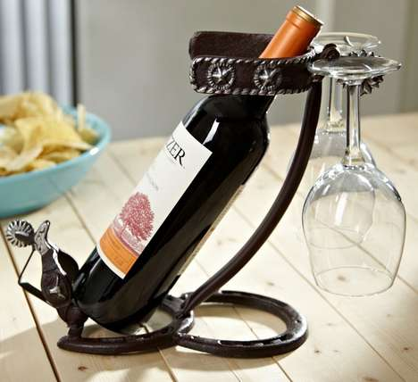 Rugged Cowboy Wine Accessories - This Bottle and Glass Holder is Made from Horseshoes and Spurs