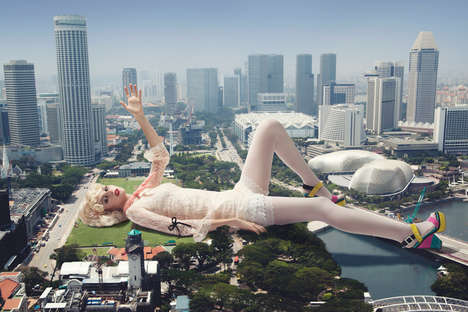 Skyscraper-Sized Model Photography - Caleb Lim Shoots a Literal Fashion Titan