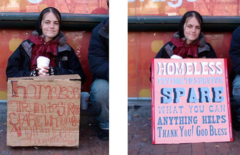 Painted Homeless signs