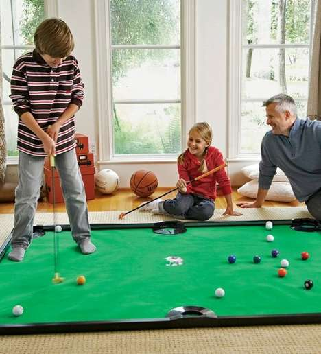 Scaled-Down Pool Table Toys - The Putter Pool Indoor Game Can Be Used for Playing Pool or Mini Putt