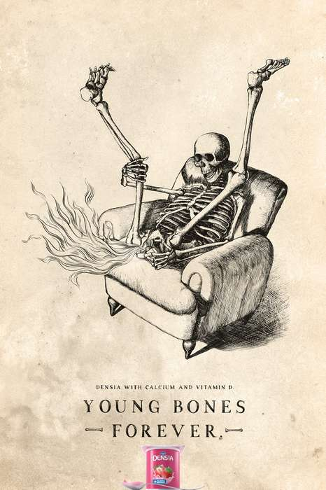 Morbid Mischief Ads - This Campaign for Danone Densia Features Skeletal Wayward Youth