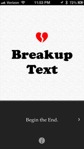 Heart Break-Assisting Apps - The Breakup Text App Helps People End Their Sour Relationships