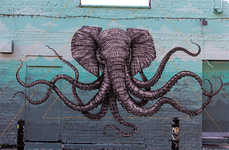 Interracial Animal Graffiti - Alexis Diaz's Hybrid Octo-Elephant Creates Waves in London
