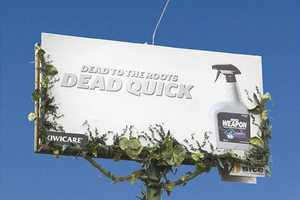This Clever Billboard Ad for Kiwicare Slowly Kills the Weeds Around It