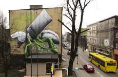 Militarisic Biological Graffiti - Ludo's Nature Graffiti Sparks Thought Through Weaponized Creations