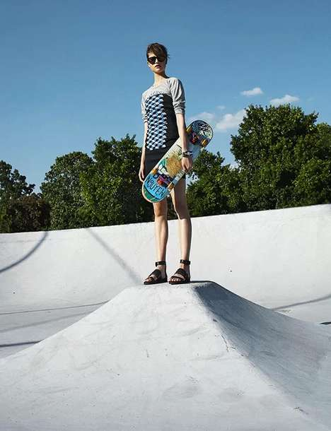 Skate Park Editorials - The ELLE Hungary August 2013 Photoshoot Stars a Sporty Chic Kate Kondas