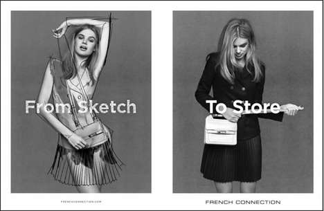 Sketch-Inspired Fashion Campaigns - The French Connection Autumn/Winter 2013 Campaign is Creative