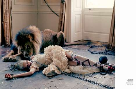 Ferocious Lion-Infused Editorials - Love #10 Explores its Wild Side with Photography by Tim Walker
