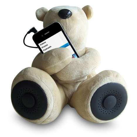 Cuddly Plush Stereos - The Sungale Teddy Bear Speaker Acts as a Cuddly iPod Dock