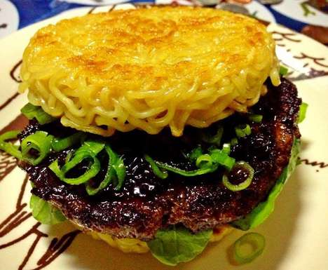 Gigantic Ramen Noodle Burgers - This Ramen Burger is a Delicious Hybrid of Noodles and Beef