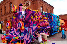 Yarn-Bombed Train Installations
