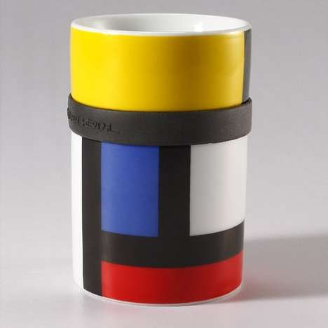 Multicolored Mondrian Mugs - This Colorful Mug is Based on the Iconic Piet Mondrian Design