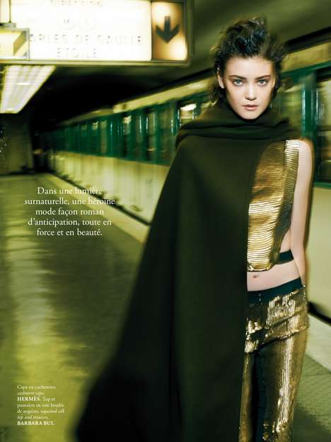 Subway Streetstyle Editorials - The Madame Air France August/ Issue Toys with Metallic