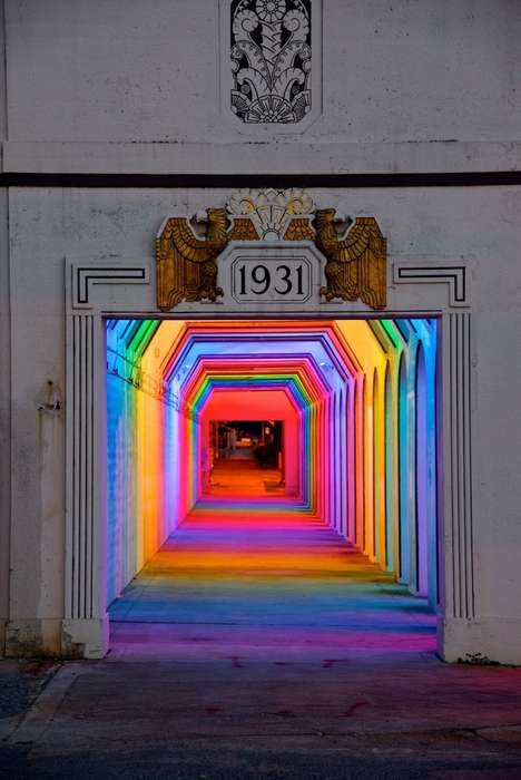 Rainbow Light Tunnels - Bill Fitzgibbons' 'LightRails' Emulates a Rainbow with LED Lights