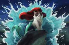Cat Meme Cartoon Mashups - Eric Proctor's Digital Paintings Add a Twist to Grumpy Cat Memes