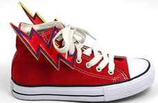 Electrifying Footwear Accessories - The Red Lightning Bolt Shwings Personalize Shoes