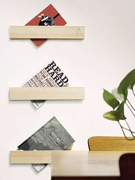 Slanted Book Holders - The Foreword Wall Shelf System Creatively Mounts Your Books on an Angle