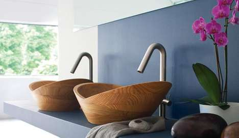 Bold Bamboo Basins - The Thalia Wooden Sink by Francoceccotti is Sustainably Chic