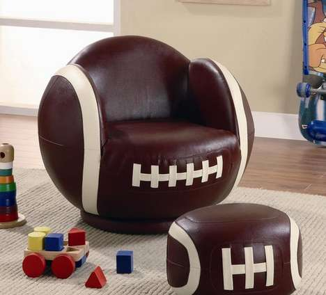 Football-Shaped Furniture - This Football Chair and Ottoman for Kids is Adorably Sporty