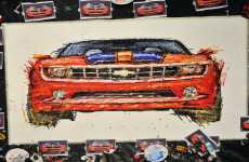 Painting with Remote Control Toy Cars - Chevy Camaro by Ian Cook