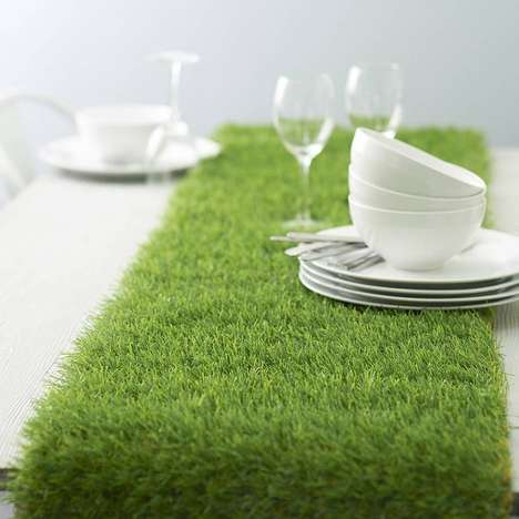 Green Grass Dining Decor - This Evergreen Direct Artificial Grass Table Runner is a Fresh Look