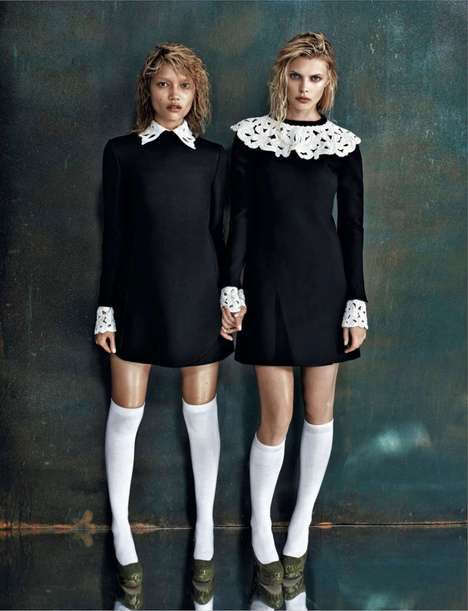 Sultry Sisterhood Editorials - The Amica September 2013 Editorial Shows Sibling Interactions
