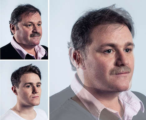 Genetically Morphed Photography - Craig Gibson Combined Father and Son to Compare Similarities
