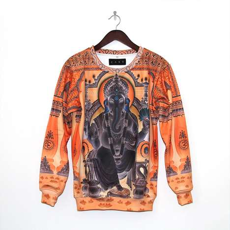 Stylized Religion Sweaters - This Limited Edition Printed Sweater Features a Hindu God