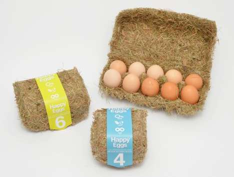 Hay-Made Egg Cartons - Happy Eggs by Maja Szczypek is a Nest-Like Packaging Design
