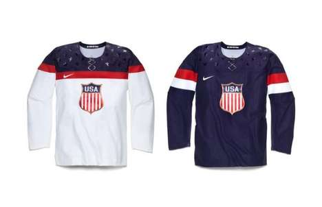 Nostalgic Patriotic Jerseys - The US Men's Hockey Team Jerseys are Olympic-Ready